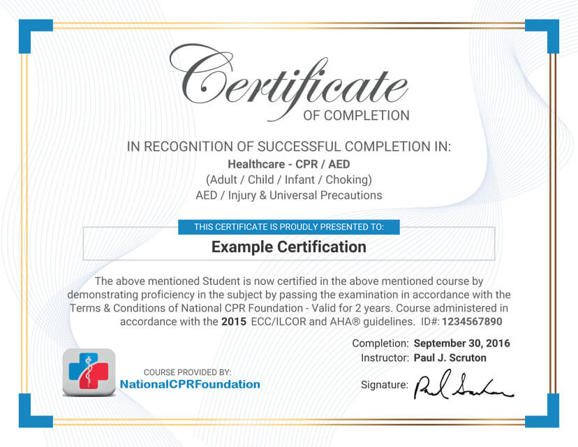 Cpr certification nyc gallery certificate design for First aid certificate template free