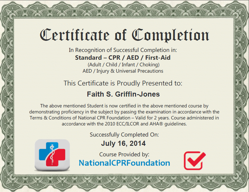 Faith certificate cpr certification online first aid for First aid certificate template free